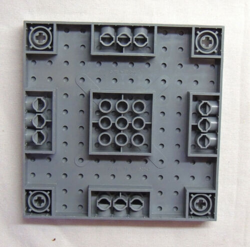 Lego 47976//52040 Brick Modified 12x12 with 3 Pin Holes Dark Gray Item #551