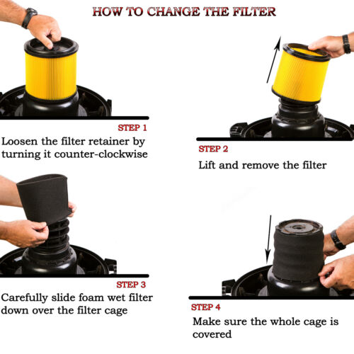 1,2, 4x HQRP Filter Sleeves for Shop-Vac QPL30 QPL40 QPL45 QPL45A QPL50A QPL60