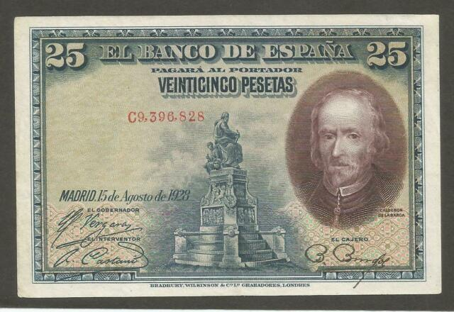 Spain 25 Pesetas 15.8.1928; EF; P-74c; Writer, Monument; Comedy scene