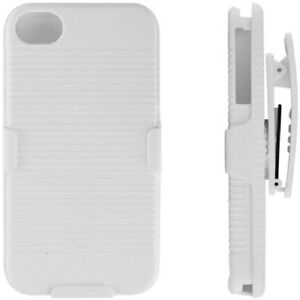 iPHONE-4-4S-4G-WHITE-ARMOR-HARD-SHELL-CASE-COMBO-COVER-BELT-CLIP-HOLSTER-STAND