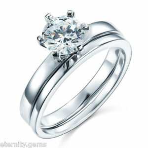 NSCD Simulated 1.25 Carat Diamond Ring SET Engagement Wedding Sterling Silver
