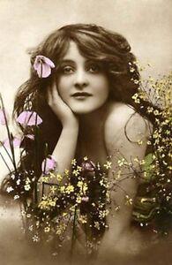 Old VINTAGE Antique FLOWER MAIDEN Sheet  ADDRESS LABELS