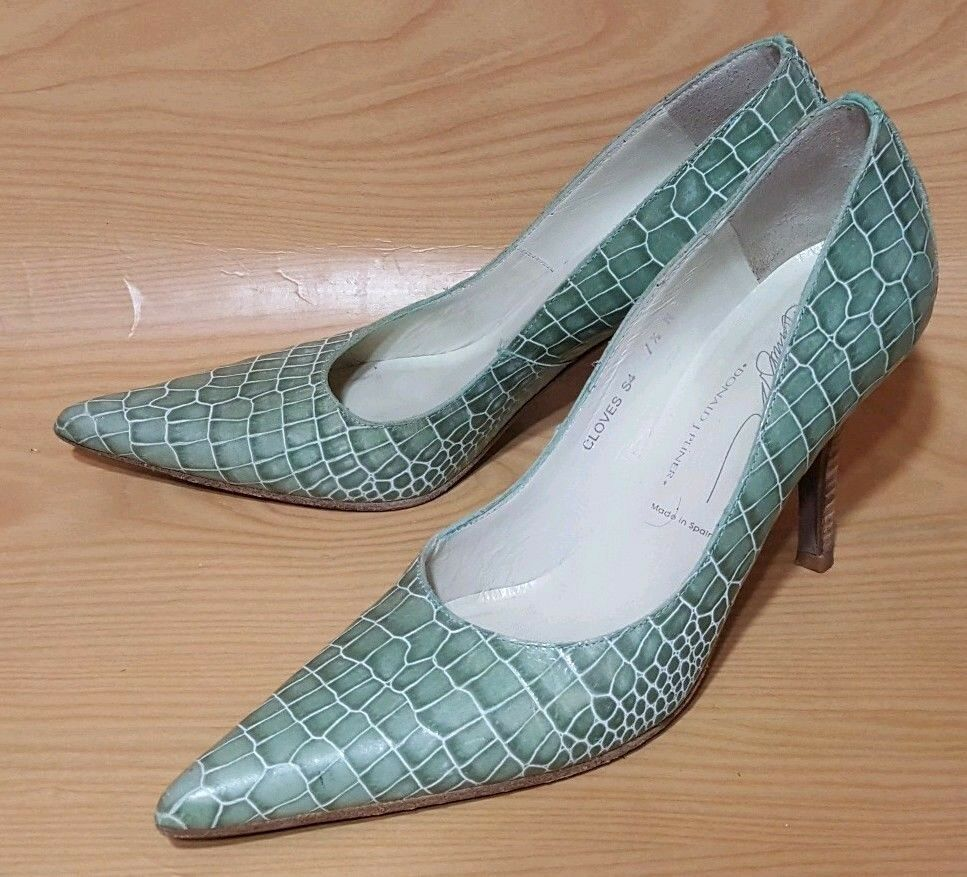 Donald J Pliner Made in Spain Alligator Print Pelle Pumps Classic Shoes 7.5 N