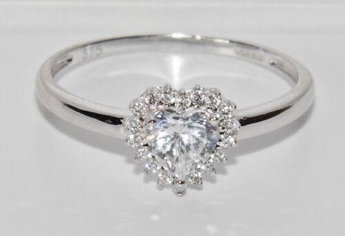 Reino Unido caracteriza 9 CT Oro Blanco 0.50 CT anillo de clúster de corazón señoras-Talla N