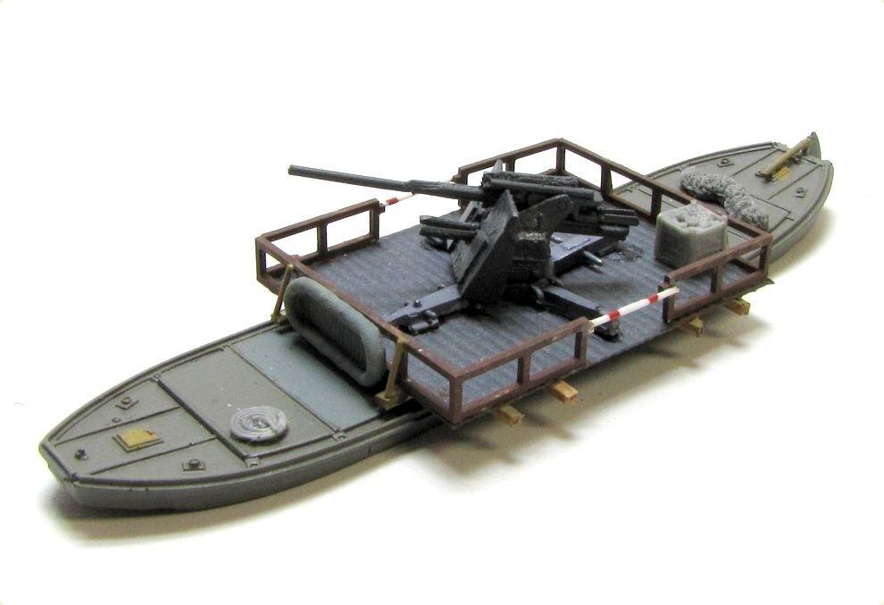 Ferry y o schwimmponton con 8,8 cm Flak ww2 stand modelo militar escala 1 160