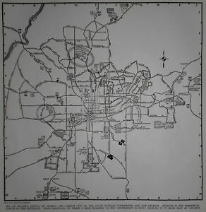 Vintage 1942 World War Wwii Atlas City Map Atlanta Georgia Ga Civil