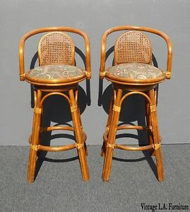Image Is Loading Pair Vintage Tiki Palm Beach Cane Back Bamboo