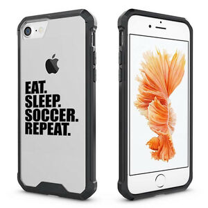 online store 861c5 54805 Details about For iPhone X 6 6s 7 8 Plus Clear Shockproof Case Cover Eat  Sleep Soccer Repeat