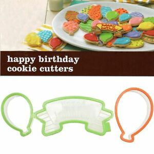 Details About 3PCS Set Balloon Shaped Sugar Cookie Cutter Cupcake Happy Birthday Cake Mold New