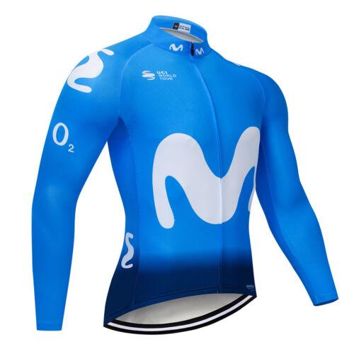 2020 Hot Movistar Long Sleeve Cycling Jersey 12D Pad Autumn MTB Bicycle Clothes