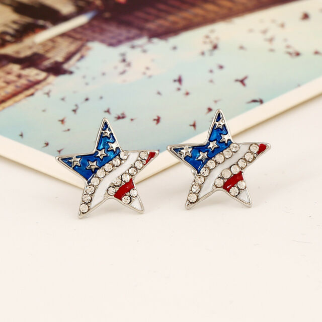 Earrings Jewelry National Flag American Ear Studs Patriotic Red Blue Star Shaped