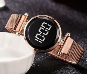 Women's Digital Watch Mesh Band Magnetic Watch Ladies Magnet Touch Screen Rose