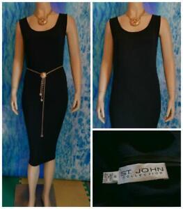 ST-JOHN-Collection-Santana-Knit-Black-Dress-L-12-10-Sleeveless-Sheath-LBD