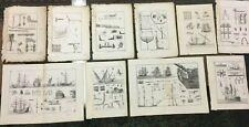 Lot 4 Gravures 6 Dessins XIXe MARINE Encyclopedie bateau navire architecture art
