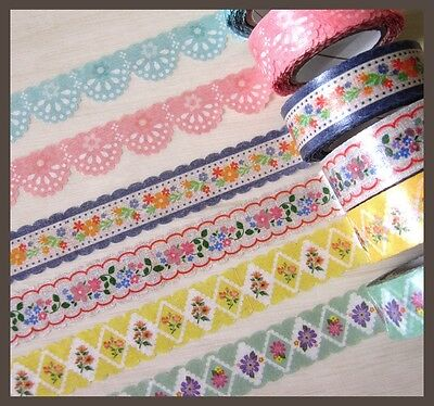 1pc Japan Vintage floral lace ripple edge die cut washi masking tape 15mm x 10m