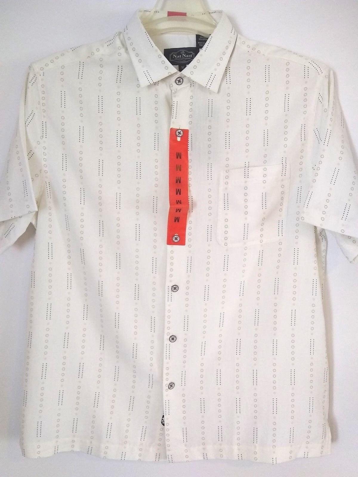 Nat Nast Mens Retro Print Short Sleeve Button Up Shirt NWT Size Medium