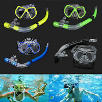 Adult Dive Diving Goggles Mask + Dry Snorkel Set Swimming Scuba Snorkeling Gear
