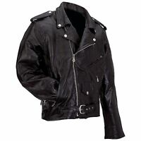 Man's Motorcycle Jacket Diamond Plate™ Rock Design Leather Size 3x - 7x