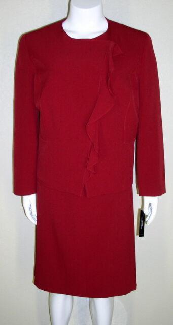 Tahari NWT Szs 20W 22W 24W Red Asymmetrical Ruffle Jacket Skirt Suits $320 7175