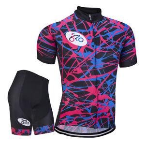 Mens Bike Cycling Outfits Jersey Shorts Kits Riding Race Uniform Shirt Pants Set