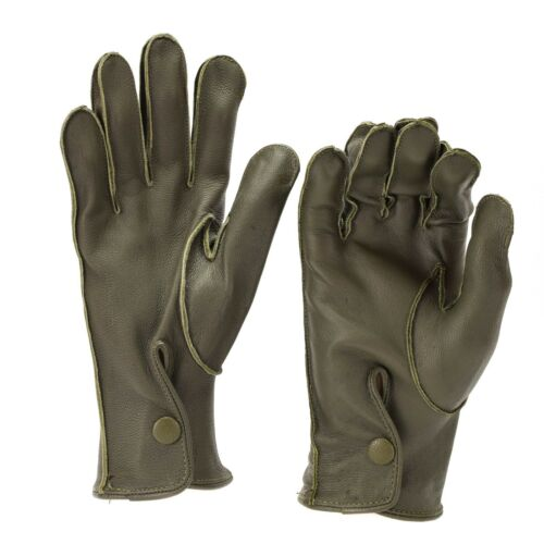 Genuine German Police issue real leather OD gloves patrol Olive O.D NEW Genuine