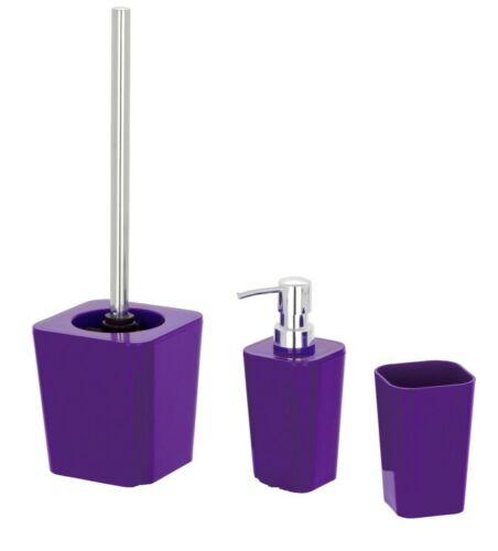 3tlg WENKO BAD SET Candy purple lila WC GARNITUR SEIFENSPENDER ZAHNPUTZBECHER