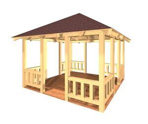 pavillon holz kvh verzapft holzpavillon garten. Black Bedroom Furniture Sets. Home Design Ideas