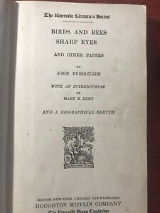 1887 HARD COVER Birds and Bees Sharp Eyes and Other Papers JOHN BURROUGHS