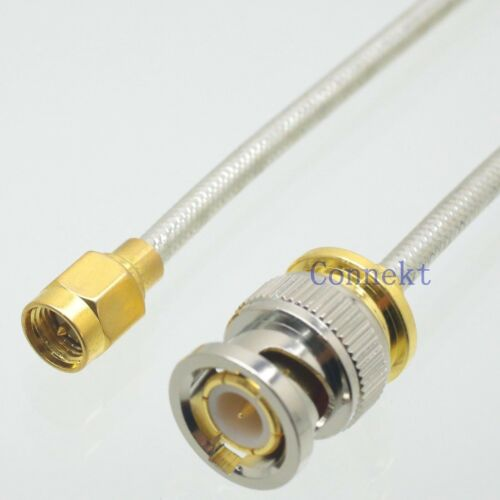"BNC male to SMA plug 14inch flexible semi-rigid RG402 0.141/"" cable pigtail jumpe"