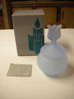 Partylite Satin Blue Glass Tulip Votive Holder In Box, P0221,