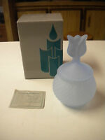 Partylite Satin Blue Glass Tulip Votive Holder In Box, P0221,