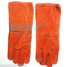 """YNR Snake Catcher Gloves Heavy Duty Reptile Lizards Leather Red Gloves 17"""" NEW"""
