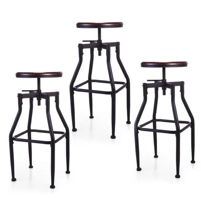 Fantastic 1 2 3 Set Height Adjustable Industrial Swivel Metal Counter Height Bar Stool Machost Co Dining Chair Design Ideas Machostcouk