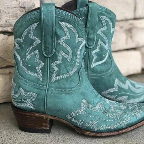 Women Cowgirl Cowboy Mid Calf Boots Casual Low Heel Ankle Western Shoes Size UK