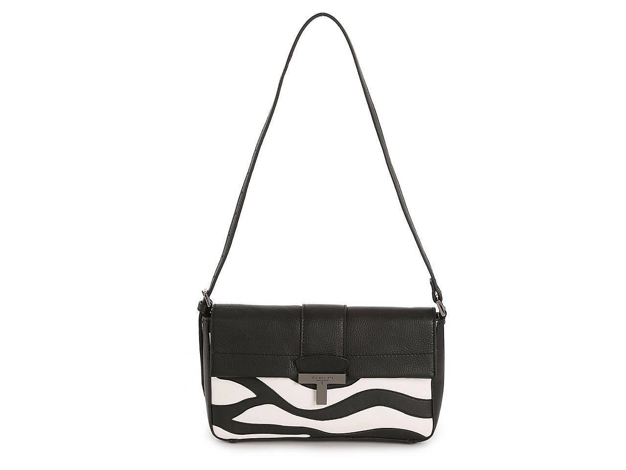 Tahari Leather Shoulder Bag Black/White Zebra Print New with Tags #PW448
