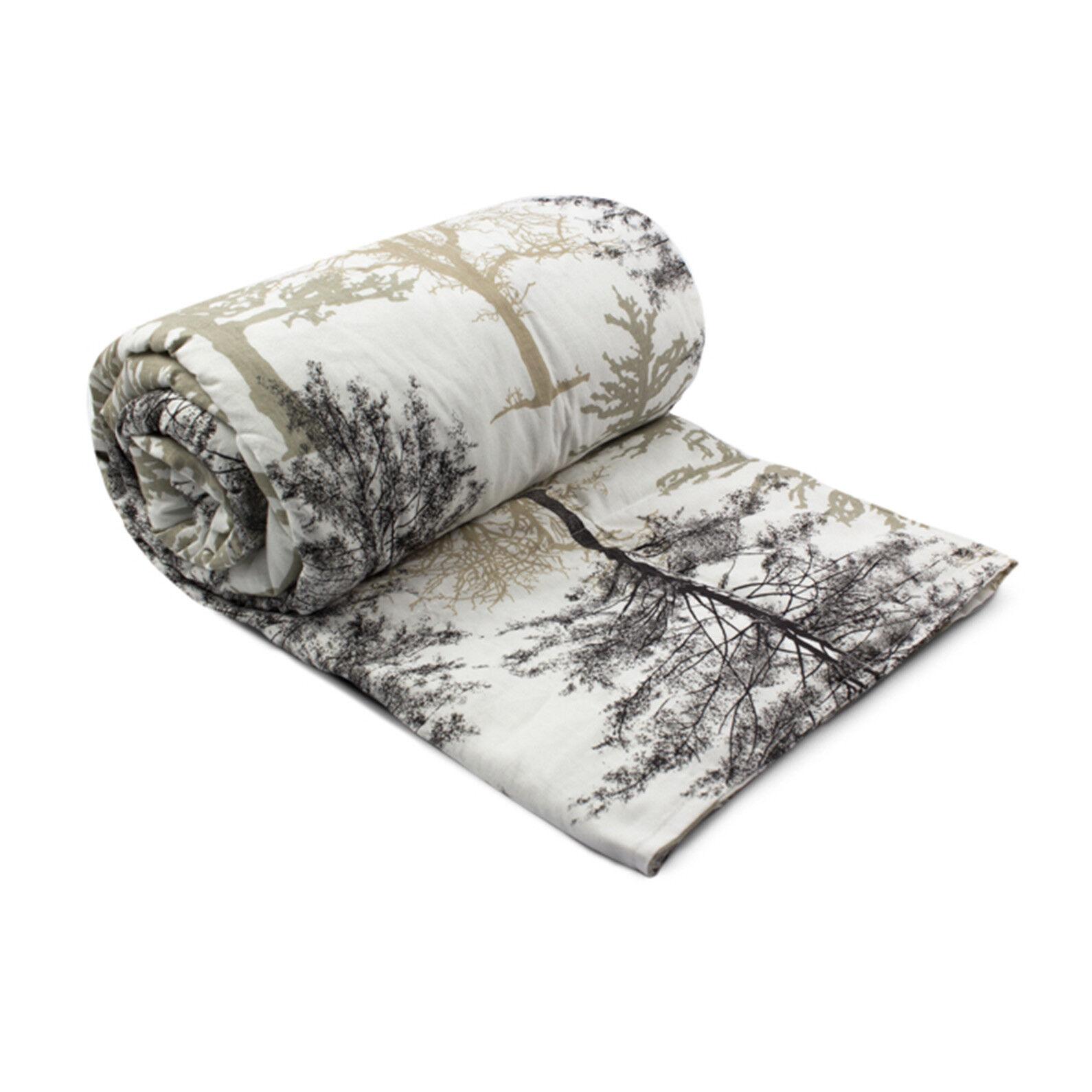 Sommio ponderata coperta con stampa foresta in cotone bianco