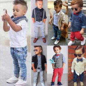 611dfd40dda0 3pcs Toddler Kids Baby Boys Gentleman Coat+Shirt+Denim Pants Clothes ...