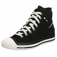 Diesel Exposure Hi Black White Womens Canvas Trainers Shoes Boots