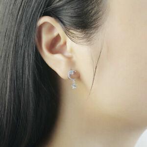 Silver-Plated-Crystal-Earrings-Star-Moon-Drop-Dangle-Earrings-Bridal-Jewelry-New