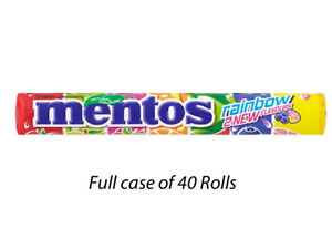 MENTOS RAINBOW 37.5g FULL CASE OF 40 ROLLS SWEETS WHOLESALE KIDS ... 230654f6a37