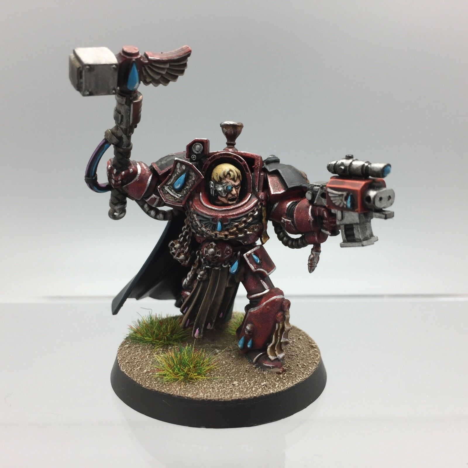 WARHAMMER 40,000 Space Marine Blood Angels Capitano in armatura Terminator dipinto