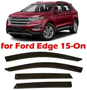 For Ford Edge 2015-2016 Window Visor Sun Guard Outside Mount Dark Grey 4pcs