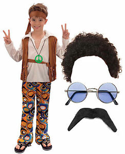 Image is loading Hippy-Hippie-Boy-Kids-60s-70s-Fancy-Dress-  sc 1 st  eBay & Hippy Hippie Boy Kids 60s 70s Fancy Dress Costume Outfit Afro Wig ...