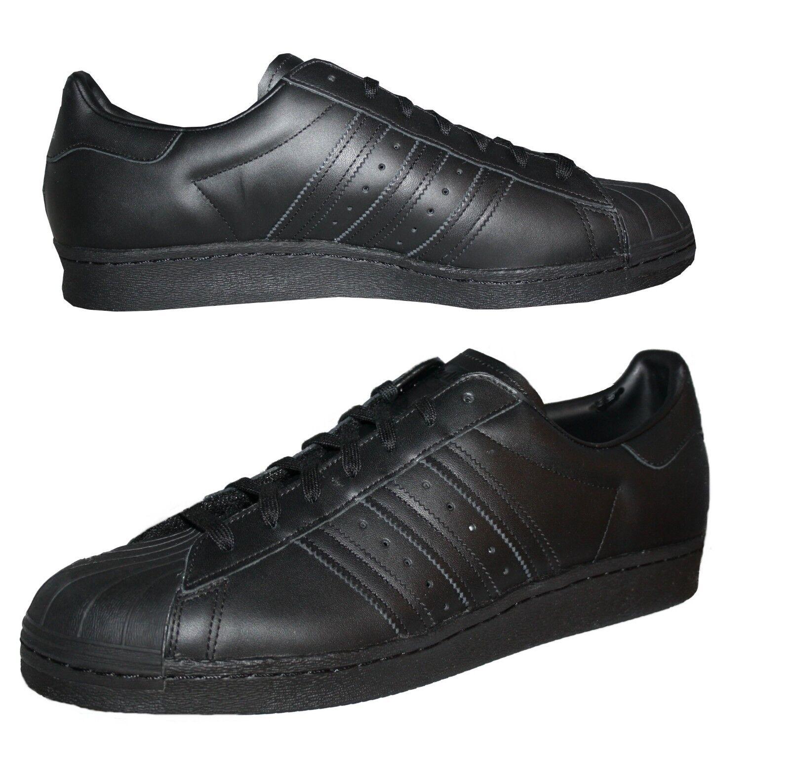 Adidas Superstar 80s Herren Retro Sneaker Schuhe Leder schwarz Gr. 49 - (49 1/3)