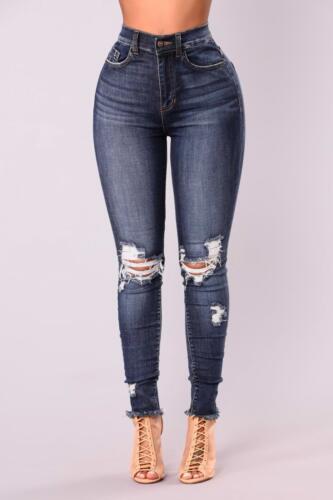 NUOVO Donna Vita Alta Skinny Logori Effetto Invecchiato Ginocchio strappato donna Jegging Jeans