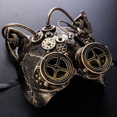 Steampunk Cat Mask Masquerade Halloween Costume Full Face Cat Goggles Gold