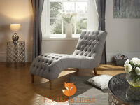 Inverness Chesterfield Style Fabric Chaise Lounge Chair In Grey, Duck Egg, Mink