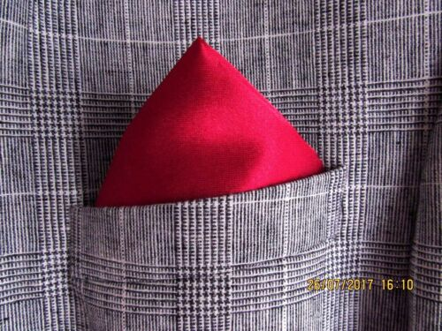 RED POCKET SQUARE HANDKERCHIEF FOR MEN WEDDINGS GROOM GIFT FOR BOYFRIEND DAD MUM