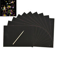10 Sheets Magic Scratch Art Painting Paper With Drawing Stick Kids Toy 16KITBU