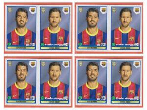 4 X Lionel Messi + Suarez Sticker Panini Fifa 365 2020 2021 #118 Invest